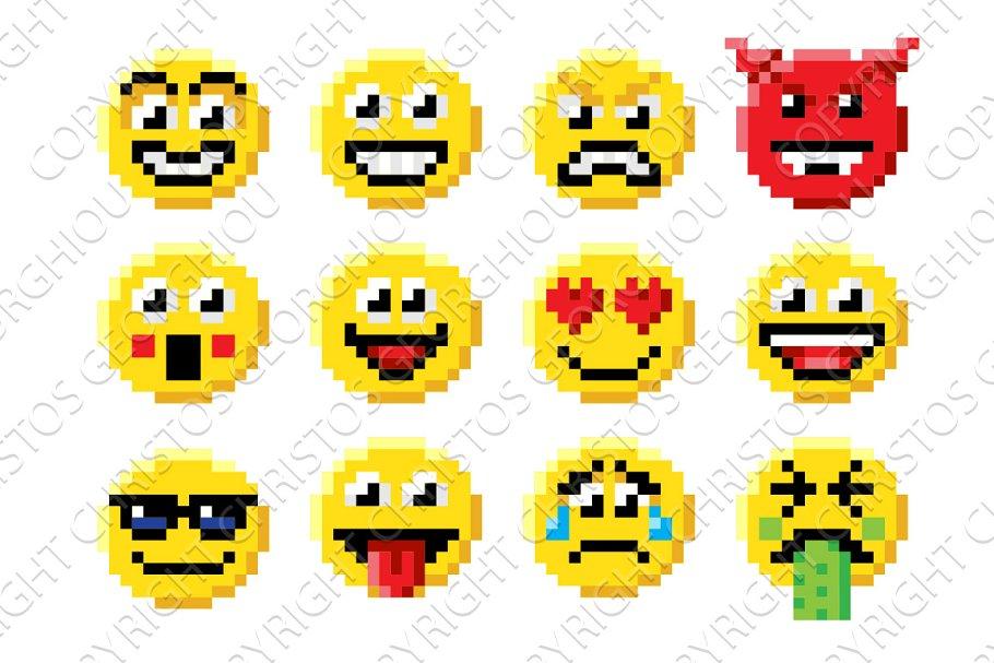 Pixel Art Emoji Emoticon Set