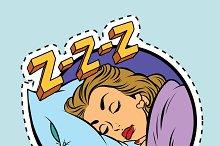 Comic girl sleeping in bed