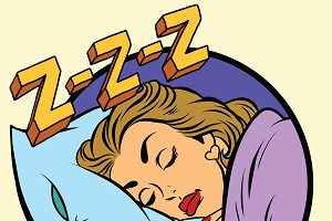 Comic girl sleeping in bed
