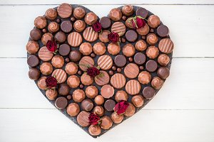 Chocolate Sweets in a Form of Heart