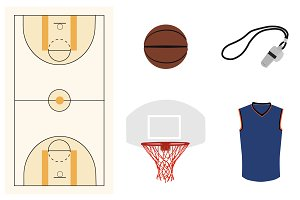 Vector basketball elements