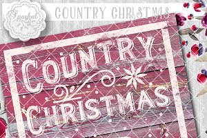Vintage Country Christmas Cut Design