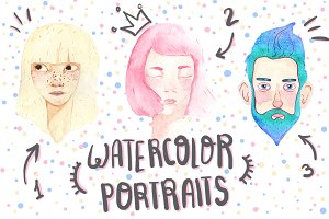 Set of 3 watercolor portraits