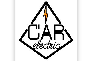 Color vintage electric car emblem