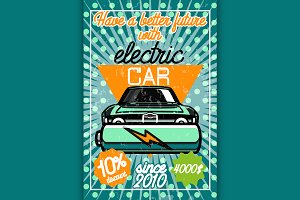 Color vintage electric car poster