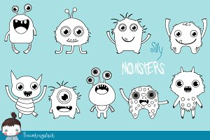 Silly monsters digital stamps