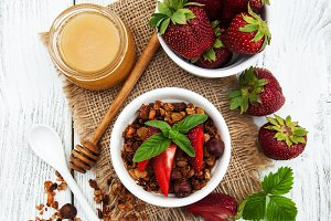 Granola with strawberries
