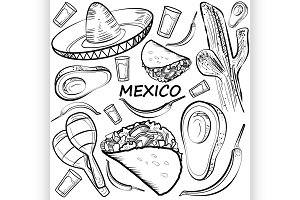 Hand drawn doodle Mexico set