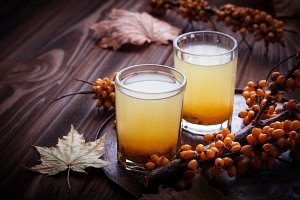 Drink with sea buckthorn