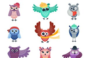 Vector collection of cartoon owls