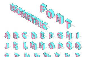 Isometric alphabet typography text