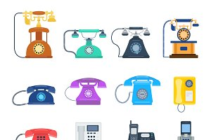 Vector vintage telephones isolated