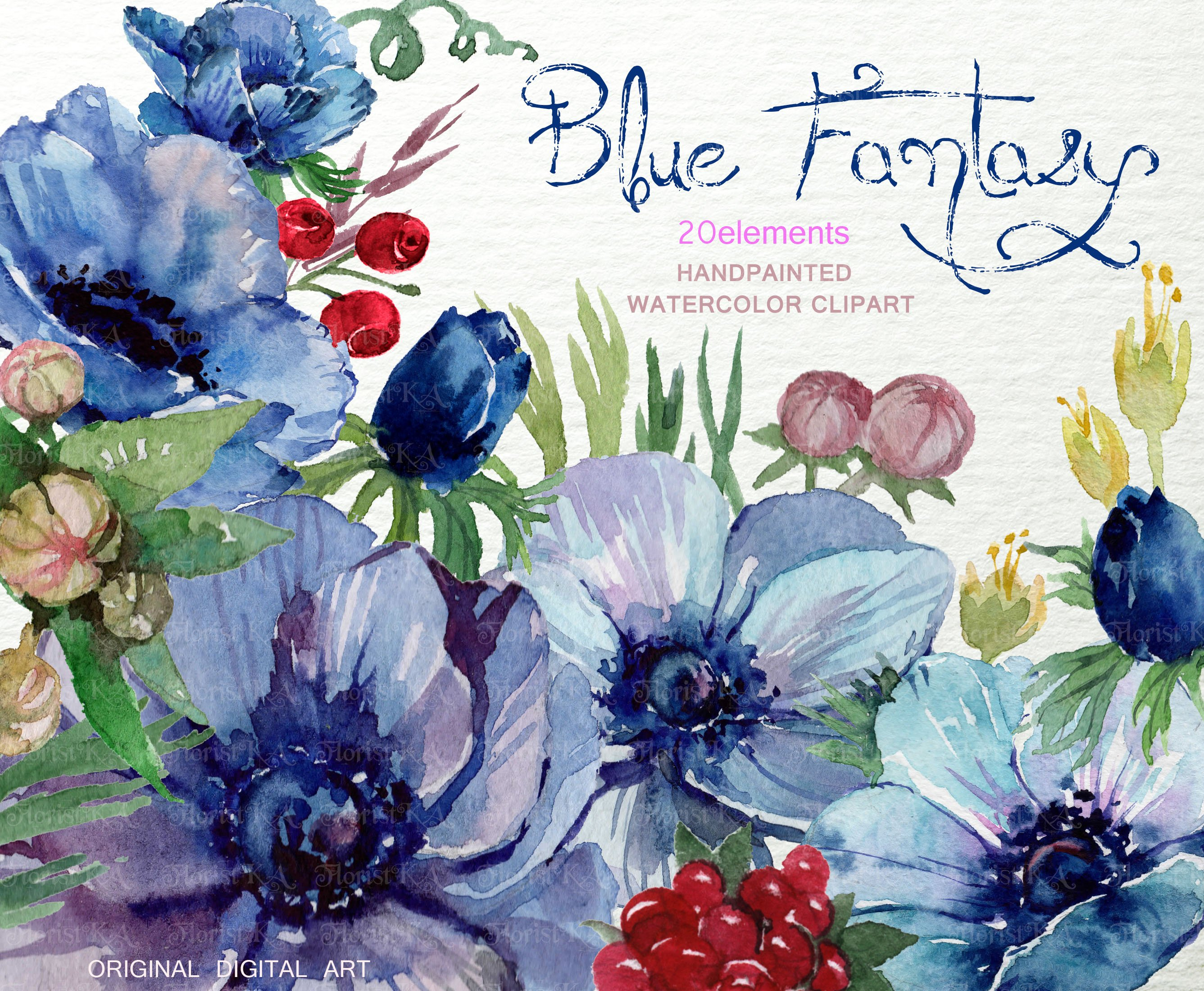 Watercolor Blue Anemone ClipArt F 23 Graphic Objects Creative Market