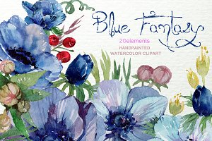 Watercolor Blue Anemone ClipArt F-23