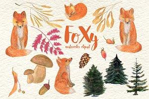 FoXy watercolor clipart