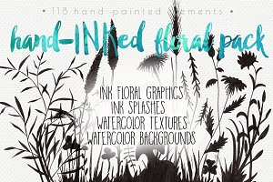 Hand-Inked Floral Pack: 118 elements