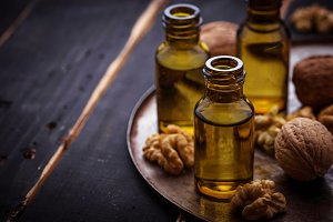 Walnuts oil in small bottles