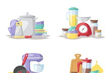 Kitchen tools collection vector