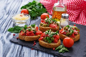 Italian antipasti bruschetta