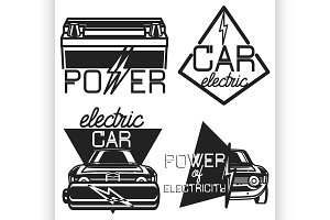 Vintage electric car emblems