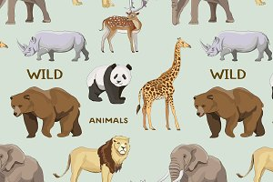 Wild animals set pattern