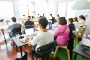Blur people in seminar room