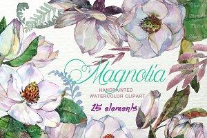 Magnolia Watercolor Clip art F-22