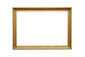 gold picture frame white background