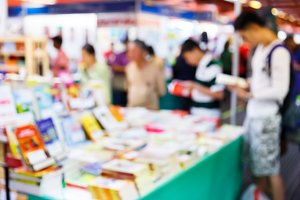 Blur people in book fair