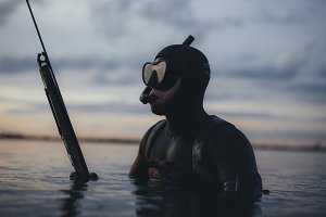 Male spearfishing diver