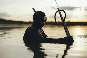 Underwater fisherman fishing