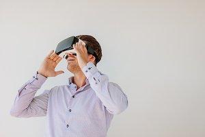 Caucasian male model wearing VR
