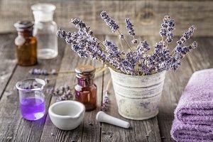 сosmetics with lavender flowers
