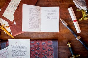 Letters, books and antique objects
