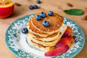 Pancakes with fresh berry and fruit