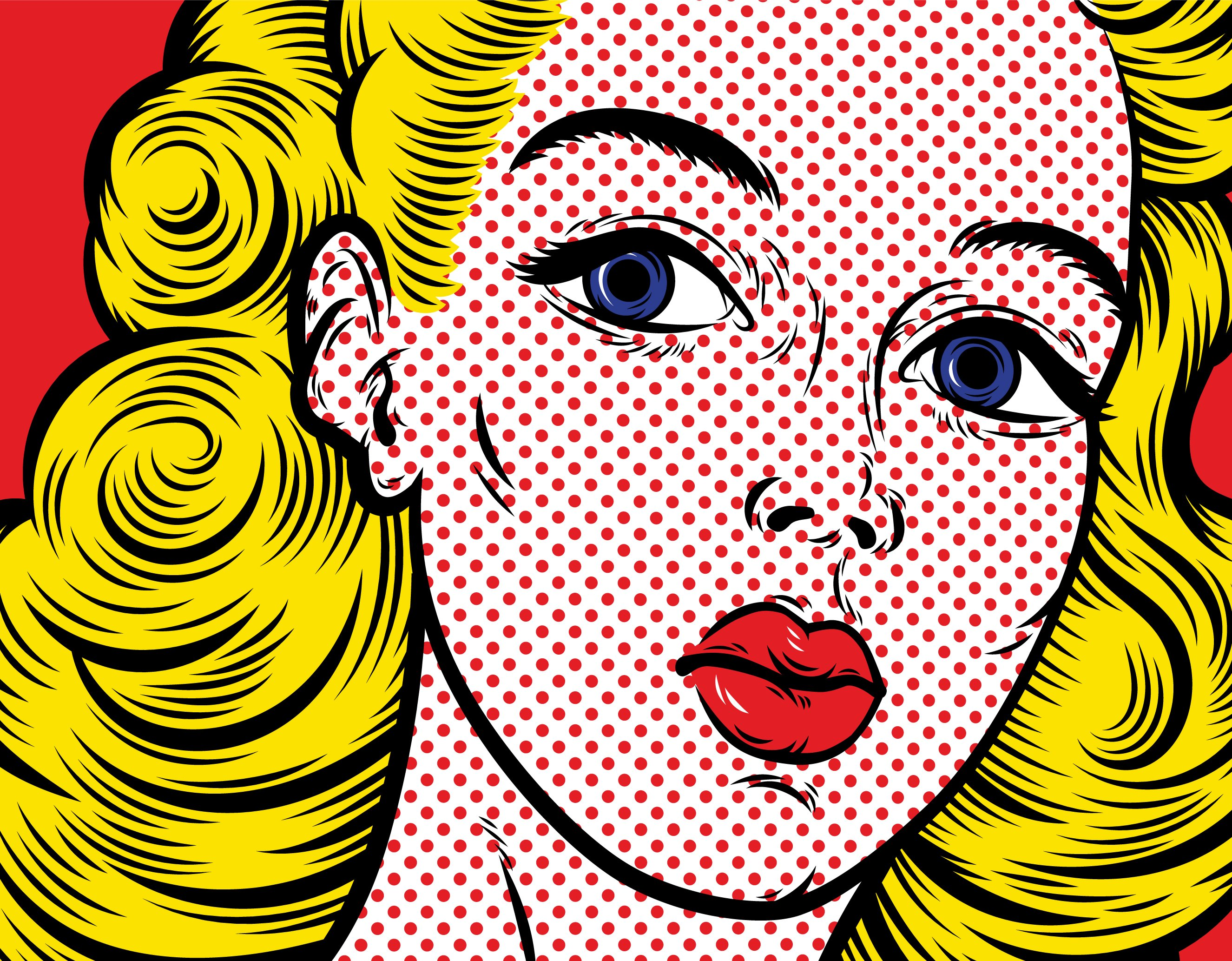 Pop Art Blond Woman Face Close Up.