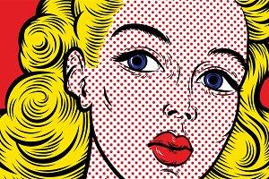 Pop art blond woman face close up.