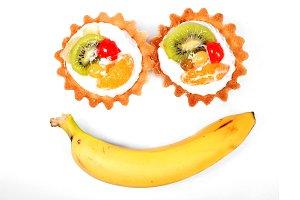 Banana and sweet cupcake