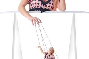 woman with little marionette