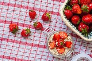 yogurt with fresh ripe strawberries
