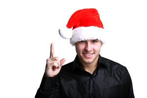 Man in red christmas hat