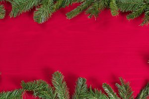 Xmas Evergreen Border on Red