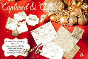 25 Christmas Glitter&Gold Gift Tags
