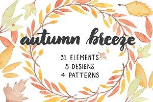 Autumn Breeze Vector Watercolor