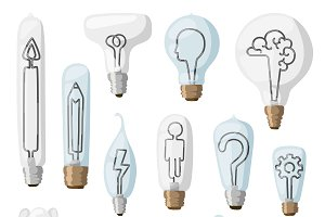 Idea inspiration lamps vector