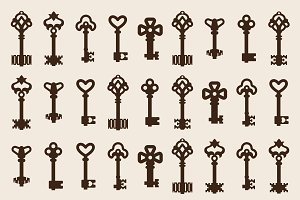 Vintage key vector set