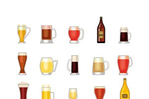 Oktoberfest beer vector mugs