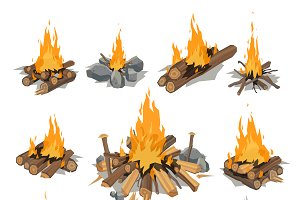 Vector campfires log burning bonfire