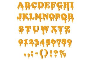 Caramel alphabet isolated