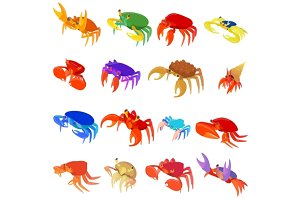 Crab icons set, cartoon style
